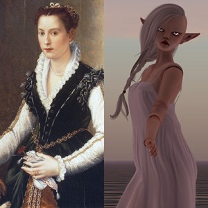 diptych of a painting of Isabella Medici from 1564 and Izzy Medici as a doll avatar in 2014