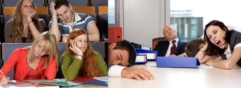 photo of bored students