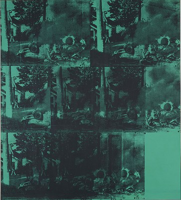 Andy Warhol's Green Car Crash: multiple black images of a graphic car wreck screen printed on top of a green background