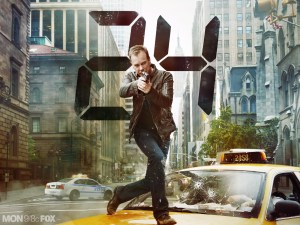 "photo of Jack Bauer firing a gun and running over the hood of a cab in New York City with the giant numerals ""24"" superimposed behind him."
