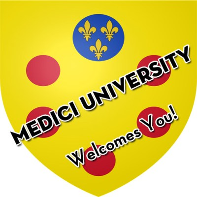 """Medici University coat of arms with the text """"Medici University Welcomes You!"""""""