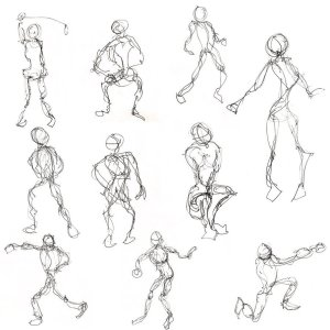 a page filled with quick gesture drawings