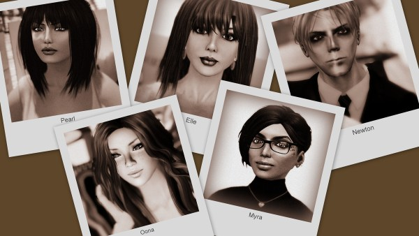 "selenium toned, ""Polaroid SX-70"" prints of 5 avatars arranged in a collage"
