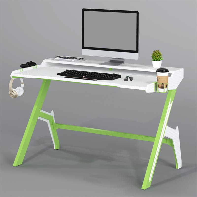 Gaming Computer Desk Gamer Desk Racing Carbon Optik Green White Gt 007 8395