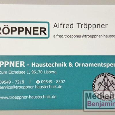 Visitenkarte Fa. Tröppner - Haustechnik & Ornamentspenglerei   Vorderseite Alfred Tröppner