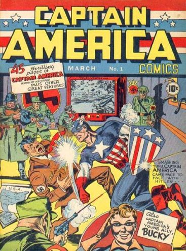 Captain America #1 (March 1941). Timely Comics. Art by Jack Kirby. [comics.org]