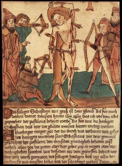 Woodcut of the Martyrdom of St Sebastian, c. 1472. Staatliche Graphische Sammlung, Munich.
