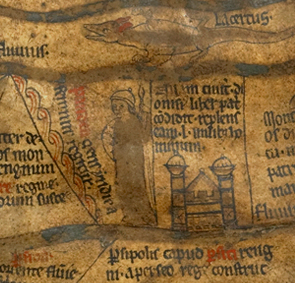 Hereford World Map (mappa mundi), c. 1300. Used with the permission of The Dean and Chapter of Hereford Cathedral and the Hereford Mappa Mundi Trust.