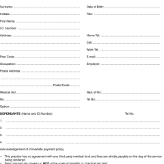 dental patient account form