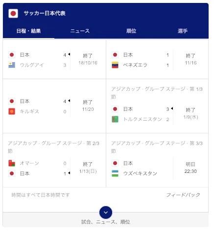 「サッカー,日本代表」の検索結果画面