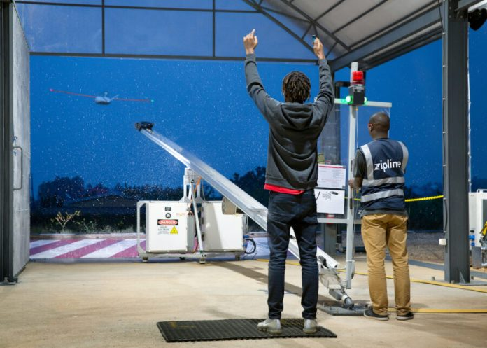 Zipline Launches Medical Delivery Drone