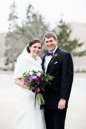 Kristin Seubold and Patrick Joyce were married in March 2014 and focused on using sustainable vendors for their wedding. Flowers arranged by Pollen Floral Design, an eco-friendly Chicago florist. Photo by Cassandra Eldridge Photography.