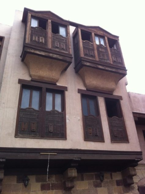 Mashrabiyyahs (rawashin) on a house in Cairo Image.