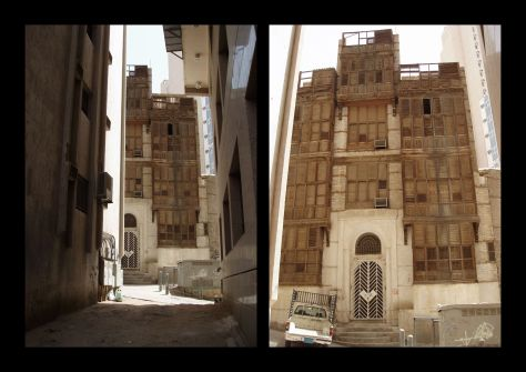 Image of Yet more traditional Shamiyyah buildings with mashrabiyyahs or rawashin covering outer façades