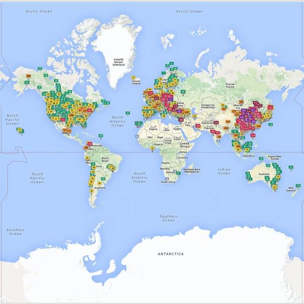 mapa de la contaminación en el planeta en tiempo real