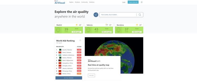 Entra en la página oficial de AirVisual Earth