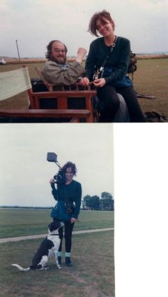 Vivian on location with camera, dog Fanny and father, 'Full Metal Jacket' 1986