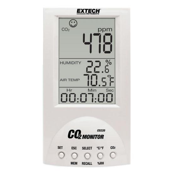Mide el dióxido de carbono (CO2), la temperatura y la humedad del aire