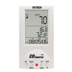 Mide la concentración de dióxido de carbono, la temperatura y la humedad del aire