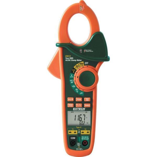 Pinza amperimétrica de CA/CC con doble entrada de termopar incorporada y detector de voltaje sin contacto