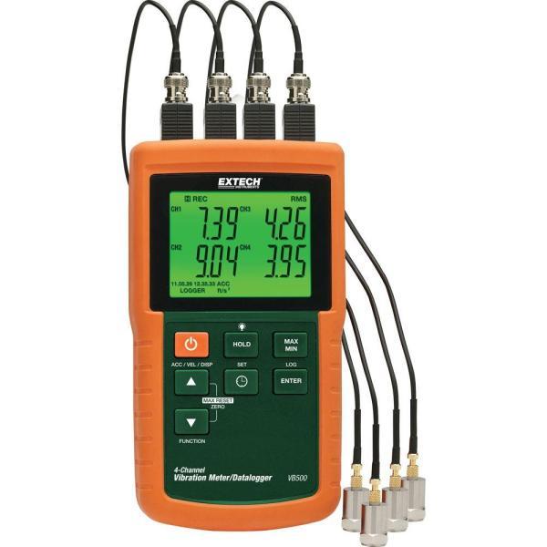 Registrador de datos/medidor de vibración de 4 canales