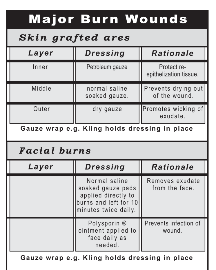 major burn wounds chart