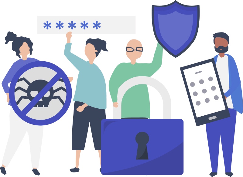 Several people holding up privacy icons and signs