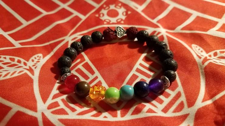 Heart Lava Stone Chakra Bracelet
