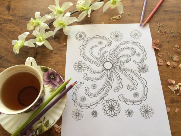 Happy Swirl Coloring Page with tea cup and coloring pencils