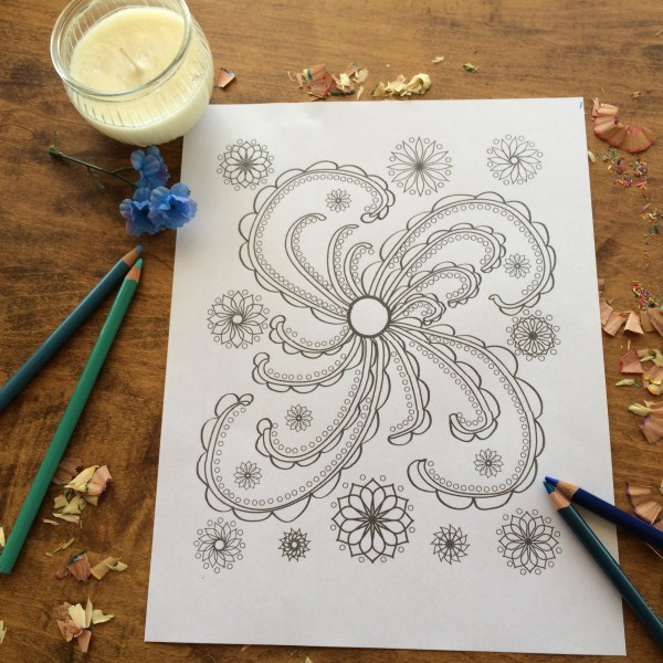 Happy Swirl Coloring Page with candle and coloring pencils