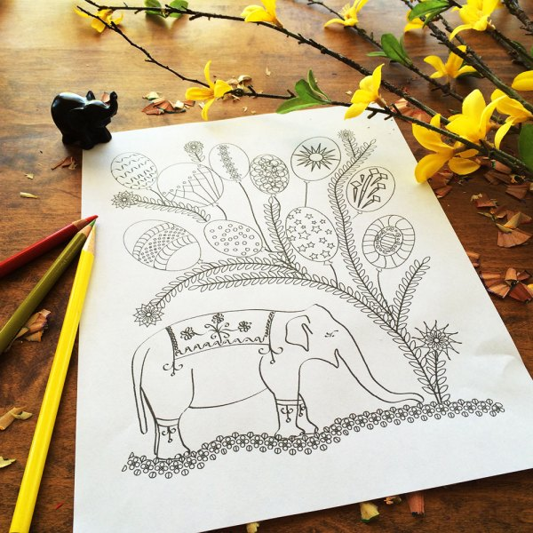 happy elephant with ballons coloring page
