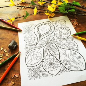 Enchanting flowers and leaves coloring page