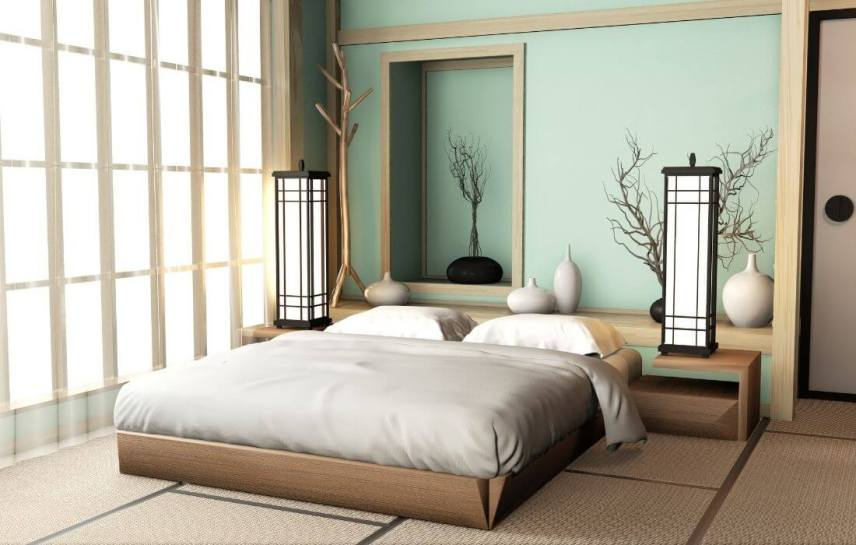 zen decor bedroom with aqua colors