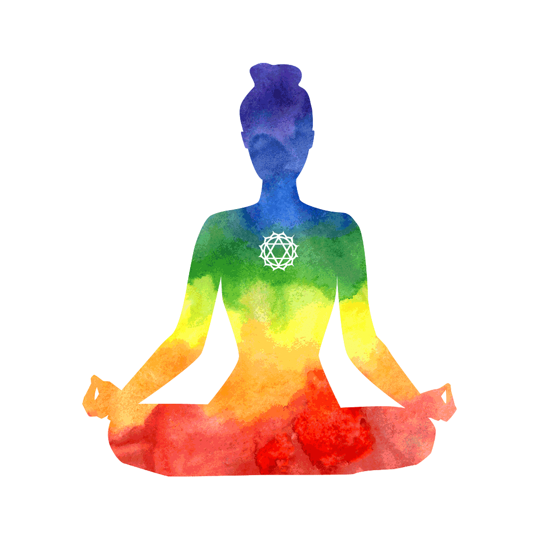 diagram showing position of heart chakra