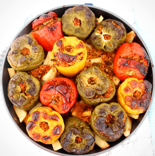 Albanian Stuffed Peppers or Speca te Mbushura