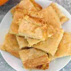 Byrek - a plate of phyllo pumpkin pie slices