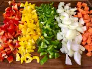 chopped veggies for stuffed pumpkin recipe