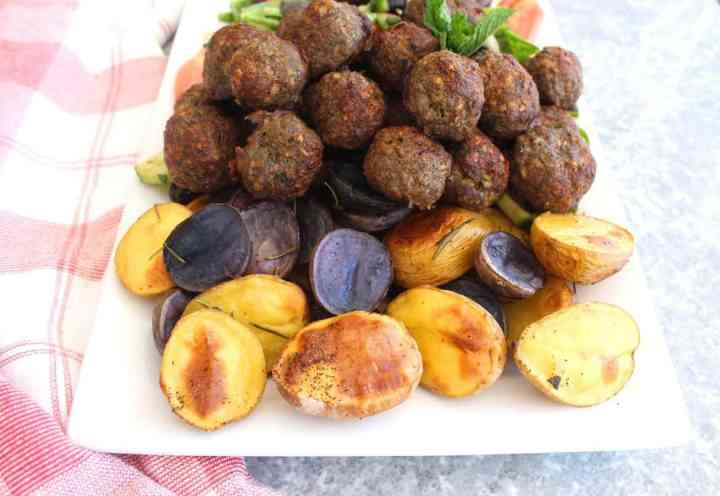 Rosemary Sage Roasted Potatoes served with Mediterranean Meatballs and Salad