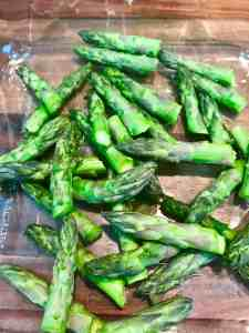 Asparagus tips ready to roast
