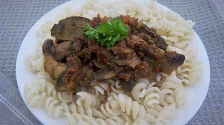 Gluten Free Quinoa Pasta with Mushrooms Beef Pasta Sauce