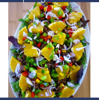 Red Quinoa, Orange and Spring Mix Salad