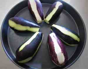 Eggplants ready to get baked
