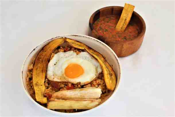 Bolivian Majadito (Beef, egg, plantains and yucca over rice)