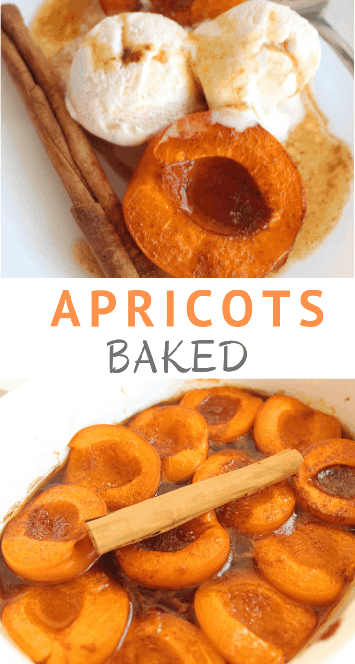Baked Apricots with Cinnamon, Vanilla and Sugar served with Ice Cream.