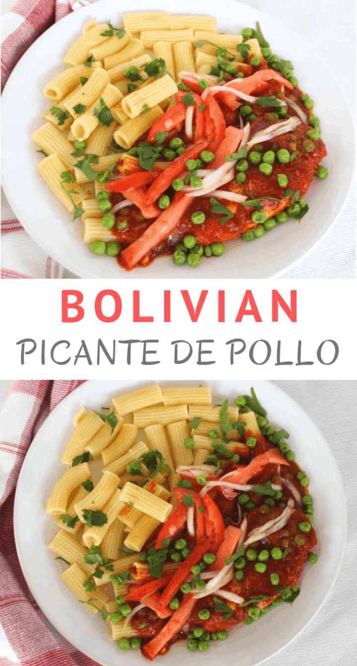 Bolivian Picante de Pollo (Chicken in Spicy Sauce) served with pasta, green peas and salad.