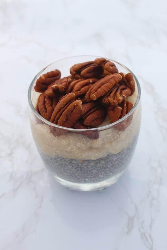 Pecans, chia, milk, quinoa flakes breakfast
