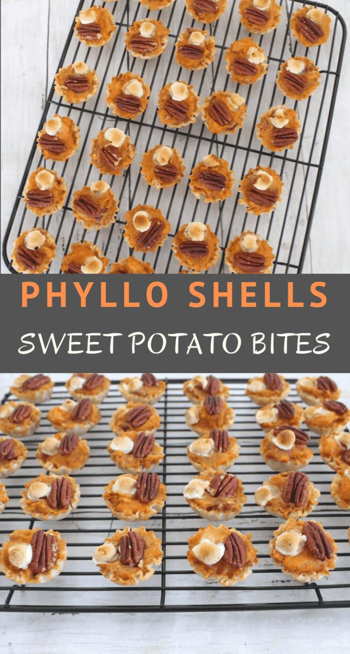 Phyllo Shells Sweet Potato Bites topped with  pecan halves and mini marshmallows.