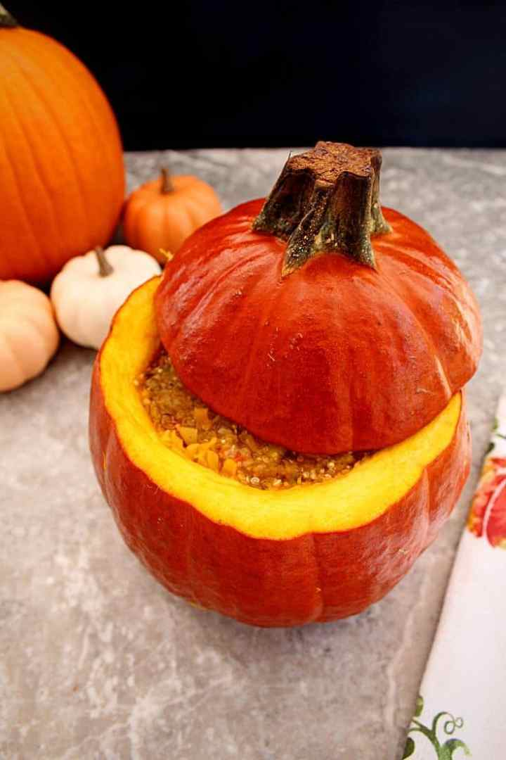 This vegan stuffed pumpkin makes for a fun and delicious dinner. It's great for meatless Mondays and any Fall dinners:).