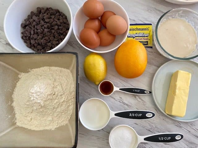 Ingedients used to make chocolate chips Panettone at home. Here's the list from top left to right, then down: chocolate chips, eggs, yeast, starter dough, flour, lemon, orange, vanilla, butter, milk and sugar.