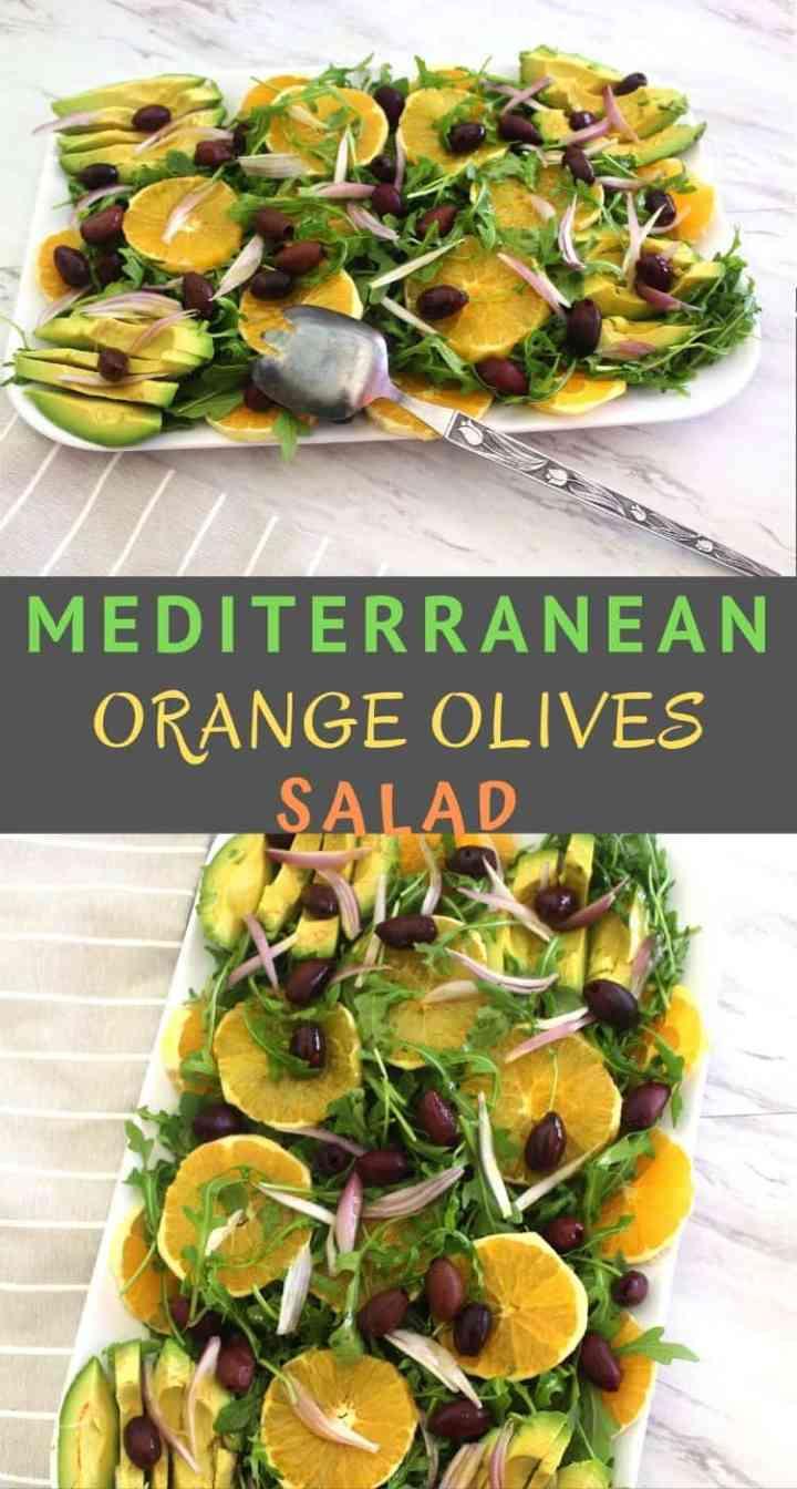 Winter orange salad with arugula, kalamata olives and avocado. This Mediterranean orange salad is served with a delicious orange dressing.